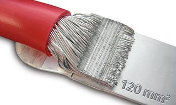 Elektrische kabel lassen op plaat