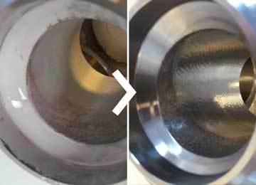 nettoyage de vannes à boisseau sphérique : avant et après